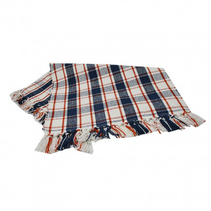 Autumn Farmhouse Blue and Orange Plaid Placemat