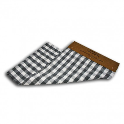 Buffalo Plaid Woven Table Runner - Gray