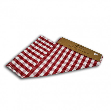 Buffalo Plaid Woven Table Runner - Red