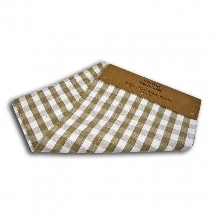 Buffalo Plaid Woven Table Runner - Tan
