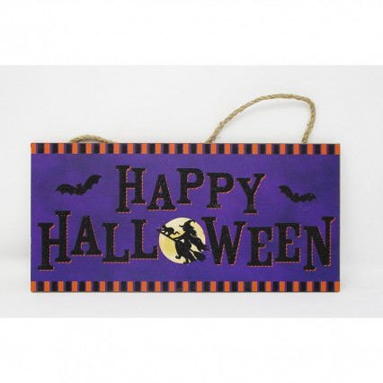 """Happy Halloween"" Glitter Bats and Witch Halloween Sign"