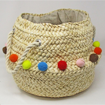 Seagrass Basket Collapsible with Small Pom Pom Trim