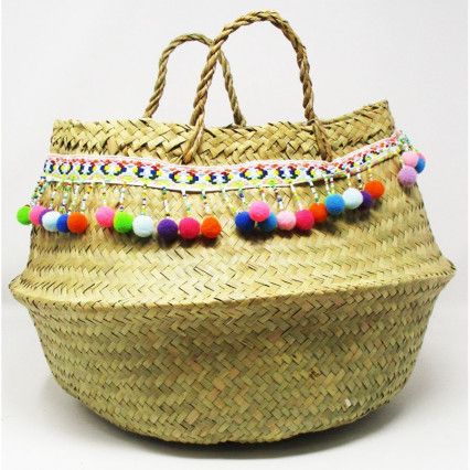 Seagrass Basket Collapsible Tan with Tiny Pom Pom Trim