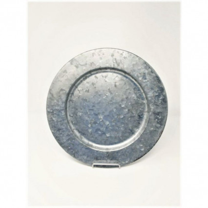 "Charger Plate 13"" Round Galvanized Silver"