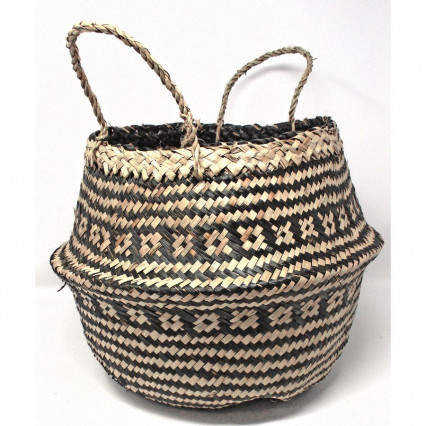 Seagrass Basket Collapsible Black and Tan