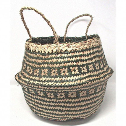 Seagrass Basket Collapsible Green and Tan