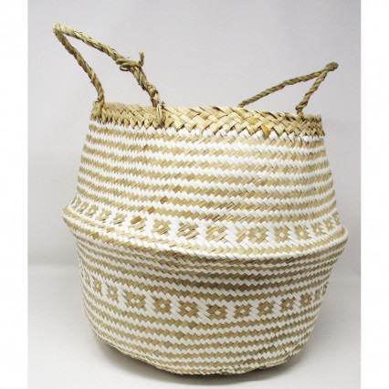 Seagrass Basket Collapsible Tan and Natural