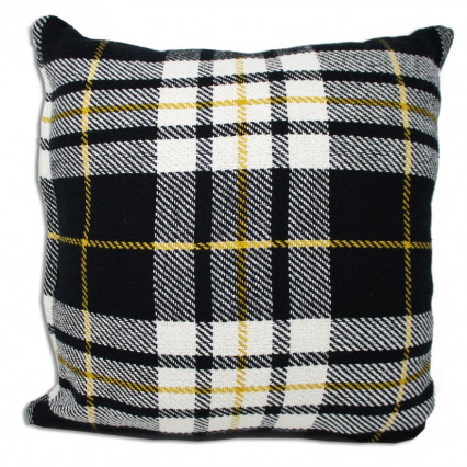 "18"" Black White Gold Tartan Plaid Accent Throw Pillow"