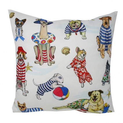 Dogs at Play Indoor Outdoor Accent Throw Pillow