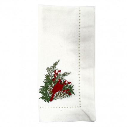 Cardinal PIne Cone Embroidered Dinner Napkin