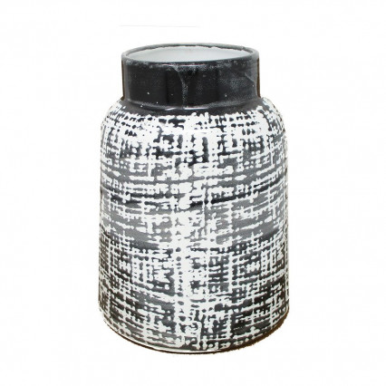 Black and White Design Ceramic Container Planter Vase, 7.5""