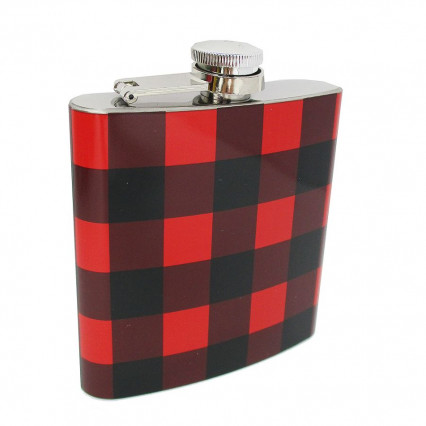 Hip Flask Red and Black Buffalo Plaid