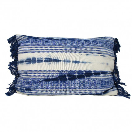 Blue Tie Dye Accent Throw Pillow with Fringe
