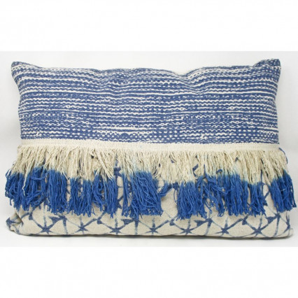 Blue and Natural Fringed Accent Pillow