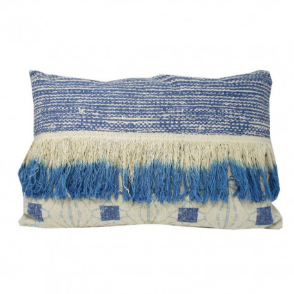 Blue and Beige Fringe Accent Throw Pillow