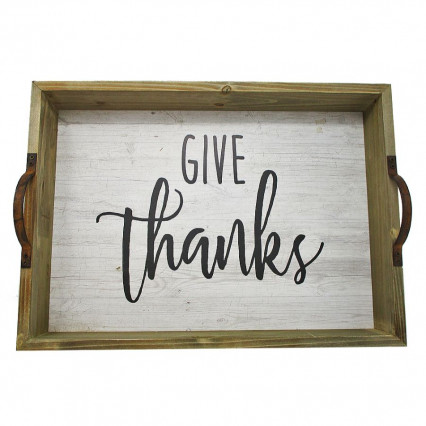 Give Thanks Wooden Tray