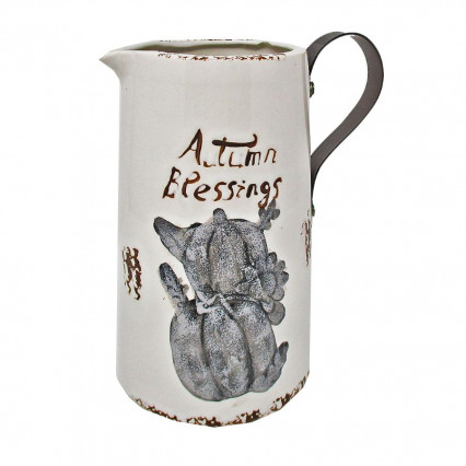 Autumn Blessings Ceramic Pitcher with Metal Handle 8""