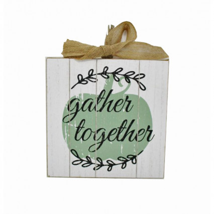 "8"" Gather Together Wooden Hanging Sign with Burlap Ribbon"