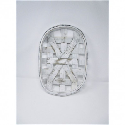 "Tobacco Basket - 16""x11"" Oval White"