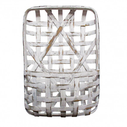 "Tobacco Basket With Pocket - 24"" White"