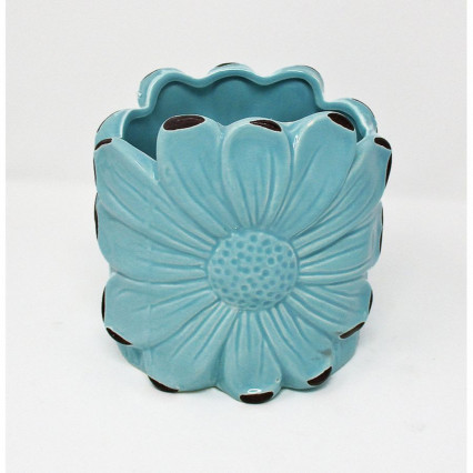 Distressed Teal Flower Shaped Planter 5""