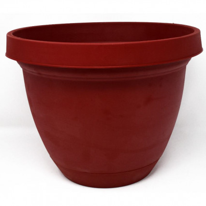 Infinity Planter with Attached Saucer - Warm Red 12""