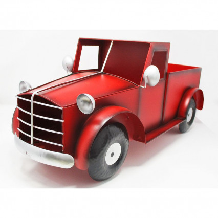 Red Metal Truck Planter, 23""