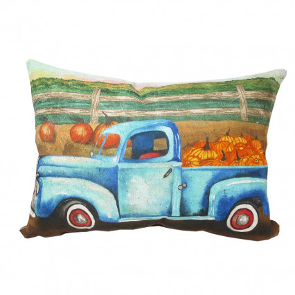 Blue Vintage Truck Pumpkins Indoor Outdoor Accent Pillow
