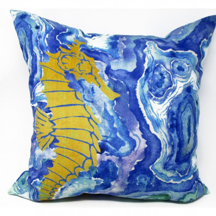 Agate Shell Seahorse Accent Pillow