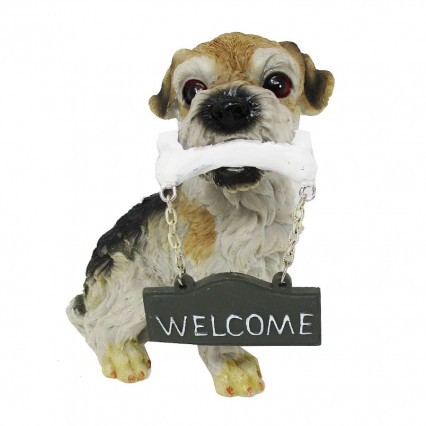 Welcome Sign Resin Dog Figurine Terrier