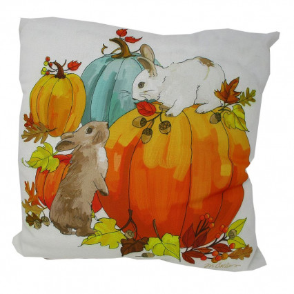 Bunnies and Pumpkins Indoor Outdoor Accent Pillow