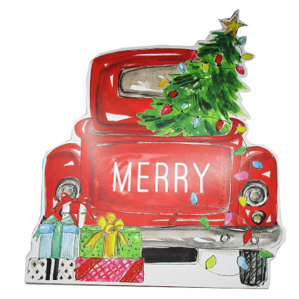 Red Vintage Truck Merry Tailgate Christmas Tree Sign - 2 ft. tall
