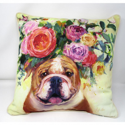 Dogs in Bloom Bulldog Accent Throw Pillow