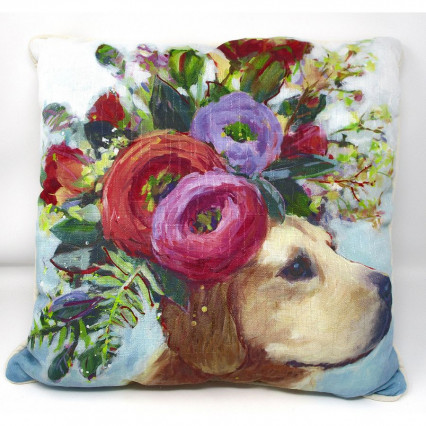 Dogs in Bloom Lab Accent Throw Pillow