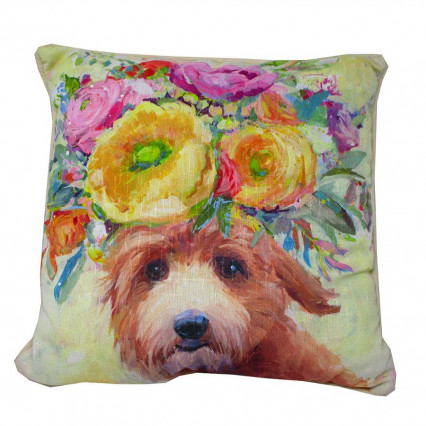Dogs in Bloom Doodle Accent Throw Pillow