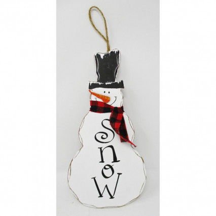 Snow Snowman Wooden Hanging Sign