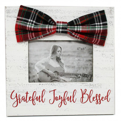 Grateful Joyful Blessed Photo Frame with Bow
