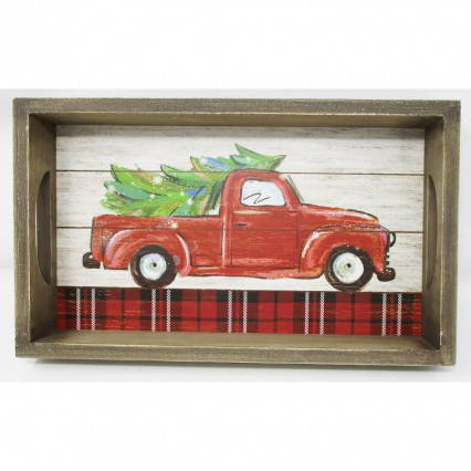 Red Vintage Truck Christmas Tree Wooden Painted Tray