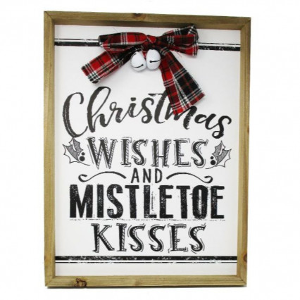 Christmas Wishes Wooden Hanging Sign with Bow Bells