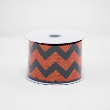 Black & Orange Chevron Ribbon (#40)