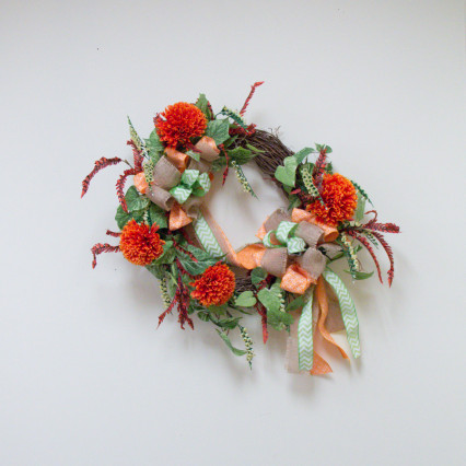 Orange Flower and Ivy Grapevine Wreath