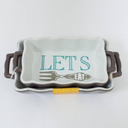 Set of 2 Mini Casserole Dishes - Let's Eat