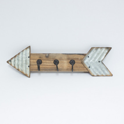 Wood & Tin Arrow Wall Hook