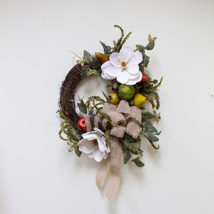 Magnolia & Fruit Grapevine Wreath