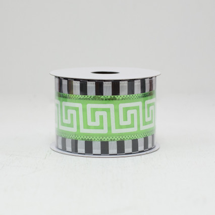 Black, Green, & White Greek Key Ribbon - #40
