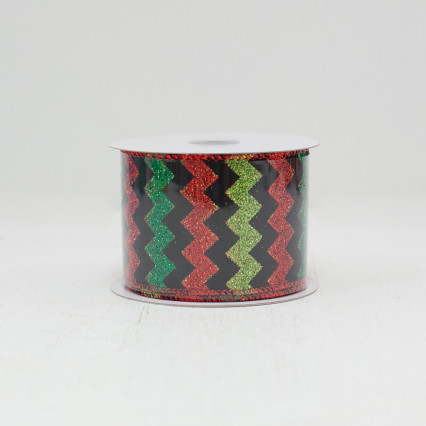 Green & Red Glitter ZigZag - #40