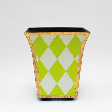 Metal Planter - Green Harlequin