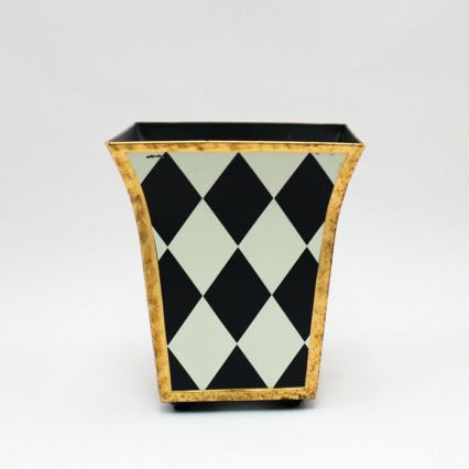 Metal Planter - Black Harlequin