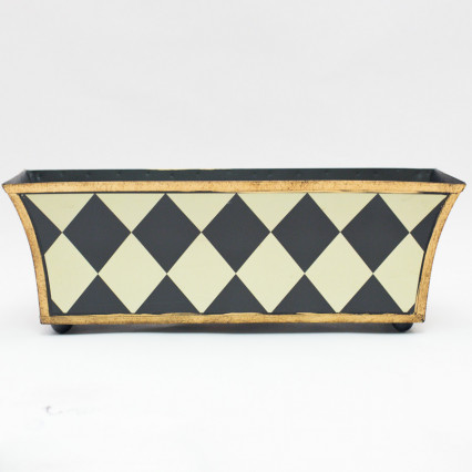 Long Metal Planter - Black Harlequin
