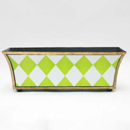 Long Metal Planter - Green Harlequin